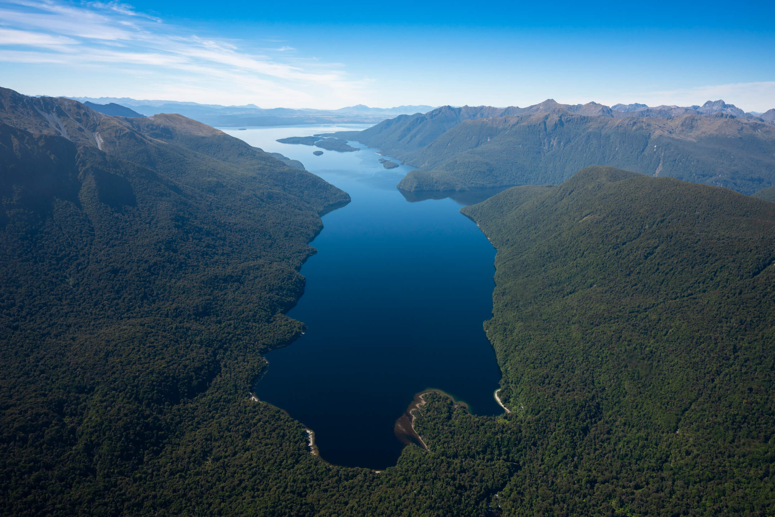 Aerial view of the middle arm of Lake Te Anau