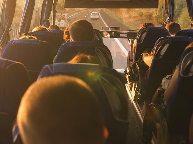 Passengers seated on bus